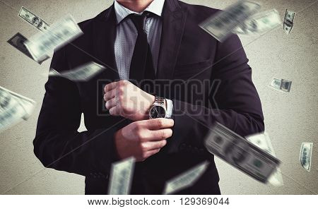 Rich Man with Clock and money background