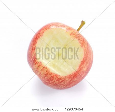 Red apple Apple with bite isolated on white background.