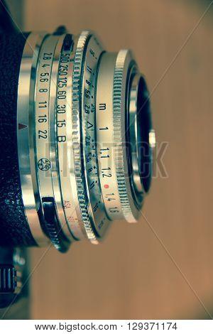 rangefinder camera lens closeup with retro colour-cast