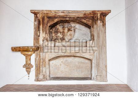 Castelo de Vide, Portugal - August 30, 2015: Aron ha kodesh (Torah Ark) in the Medieval Sephardic Synagogue (13th / 14th century) in Castelo de Vide, Alto Alentejo, Portugal