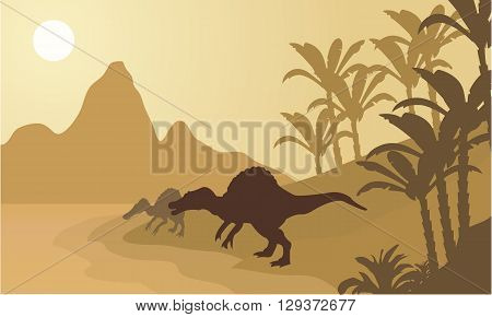 Spinosaurus in river silhouette scenery with brown backgrounds