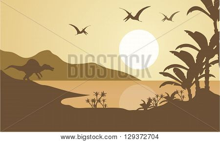 Silhouette of pterodactyl and spinosaurus in the lake