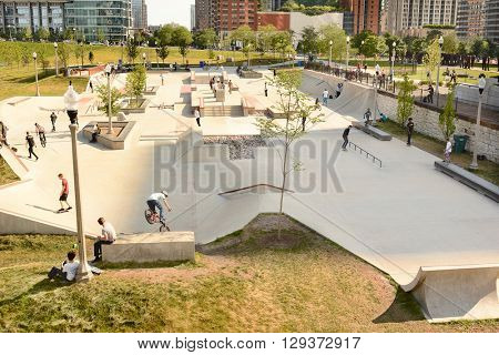 CHICAGO, ILLINOIS - AUGUST 22, 2015: Grant Park Skate Park. The park was opened in 2014 in the South Loop between E. 11th St and S. Michigan Ave.