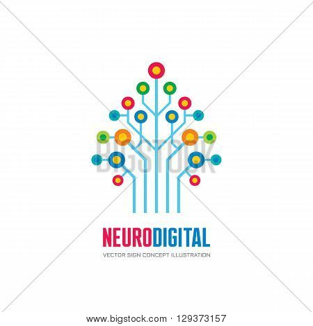 Neuro digital - vector logo concept illustration. Network tree logo sign. Computer technology logo. Vector logo template.