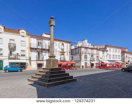 Castelo de Vide, Portugal - July 23, 2015: Pillory of Castelo de Vide. The place where the public justice was executed. Portalegre, Alto Alentejo, Portugal.