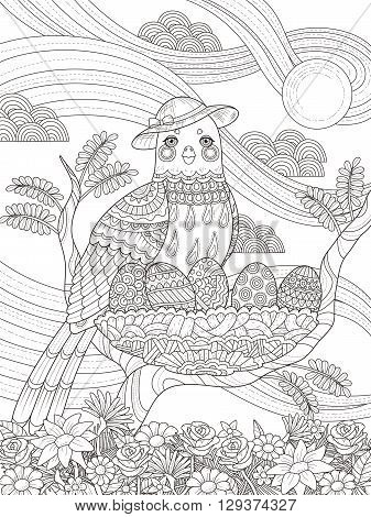 Lady Bird Adult Coloring Page