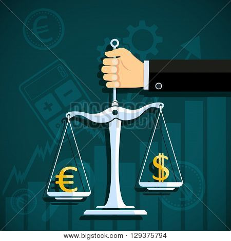 Human hand holds scale with world currency. Dollar and euro. Stock Exchange. Stock vector illustration.