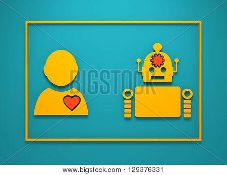 Cute vintage robot and human. Robotics industry relative image. 3D rendering. Diversity between life and machines