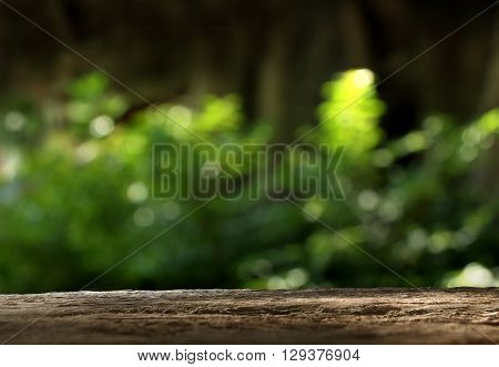 Wood table top on blurred green background - can be used for montage or display your products