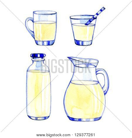 Watercolor fresh Dairy Products on white background