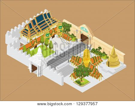 thailand grand palace vector background landmark beautiful