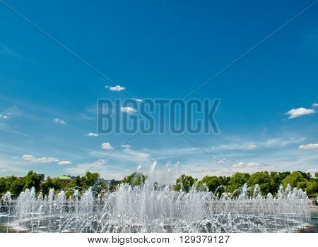 part of fountain and space blue sky in Tsaritsyno park. Moskow, Russia.