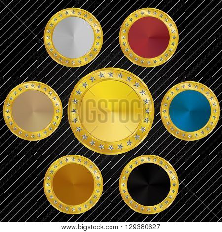 Blank & Different Color Medallions and Medals with Star Border
