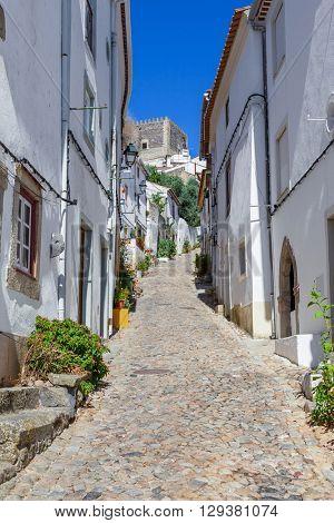 Castle seen form the Medieval Jewish Quarter / Ghetto (Judiaria) in Castelo de Vide,  Alto Alentejo, Portugal.