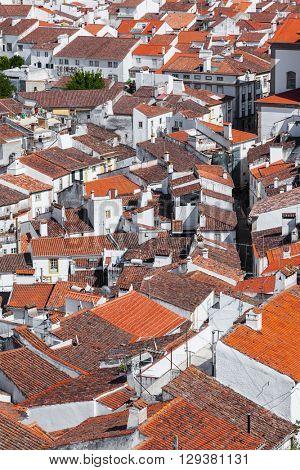 Close up of Castelo de Vide rooftops seen from the Castle Tower. Castelo de Vide,  Alto Alentejo, Portugal.