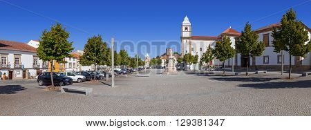 Panorama of Dom Pedro V Square in Castelo de Vide. Santa Maria da Devesa church and City-Hall . Alto Alentejo, Portugal
