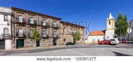 Historical houses and Sao Joao church in Dom Pedro V Square, Castelo de Vide.