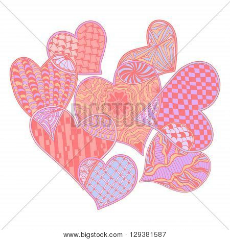 Vector pattern of hearts ornate zentangle style decorative symbol. Hand drawn style design element. Vector illustration for coloring book logos t-shirts websites print isolated on white background