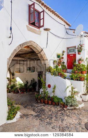 15th century Medieval Town-Hall (Antigos Pacos do Concelho) in the Medieval Borough of Castelo de Vide, Alto Alentejo, Portugal.