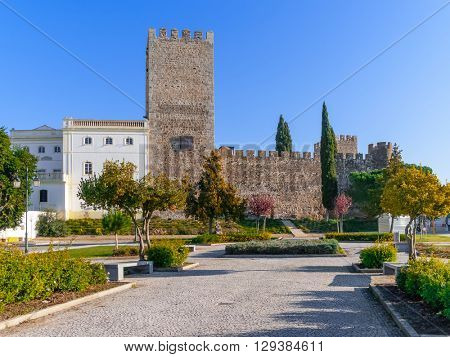 Medieval Castle of Alter do Chao, seen from the Doze Melhores de Alter Square. Alto Alentejo, Portugal
