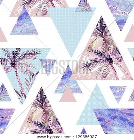Abstract summer geometric seamless pattern. Triangles with palm tree leaf and marble grunge textures. Abstract geometric background in retro vintage 80s or 90s. Hand painted summer beach illustration