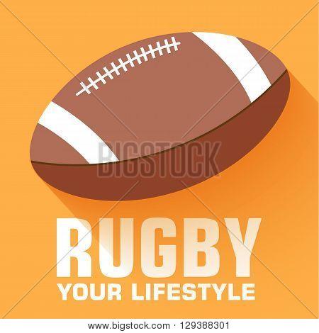 Flat Sport Rugby Background Concept. Vector Illustration Design