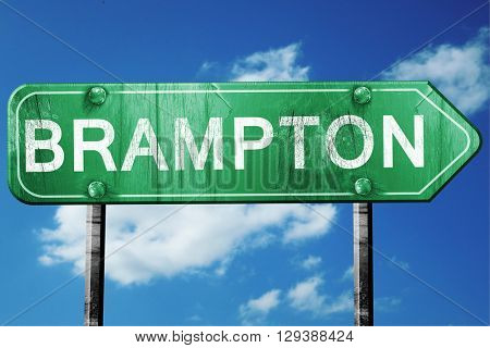 Brampton, 3D rendering, a vintage green direction sign