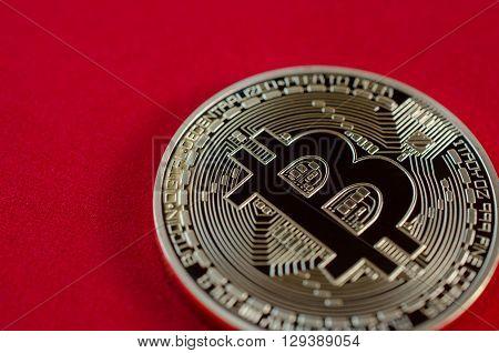 Golden Bitcoins (digital Virtual Money) On Red Background