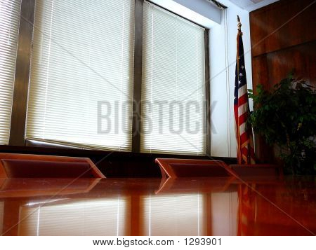 Empty Business Conference Room With American Flag