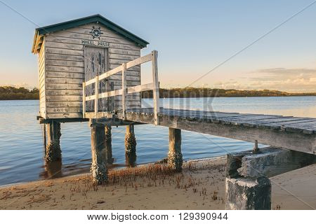Maroochy River Boat House in the late afternoon in Maroochydore, Sunshine Coast. poster