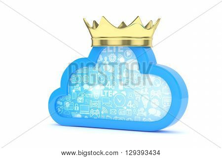 Isolated blue cloud icon with golden crown on white background. Symbol of communication, network and technology. Broadband. Online database. 3D rendering.