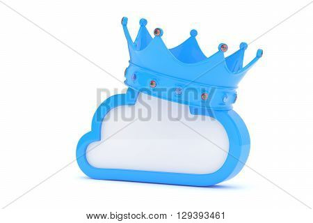 Isolated blue cloud icon with crown and gems on white background. Symbol of communication, network and technology. Broadband. Online database. 3D rendering.
