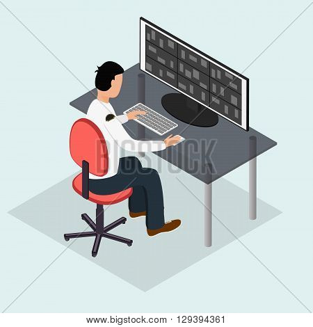 The security guard in the workplace. Wide monitor for surveillance camera. Observation and surveillance. A working computer. The man in uniform. Vector illustration.