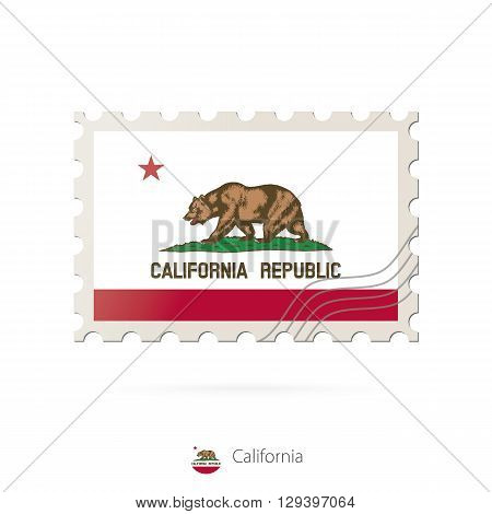 Postage stamp with the image of California state flag. California Flag Postage on white background with shadow. Vector Illustration.