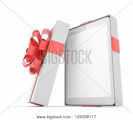 Tablet in white gift box with red bow and ribbons on white. 3D rendering.