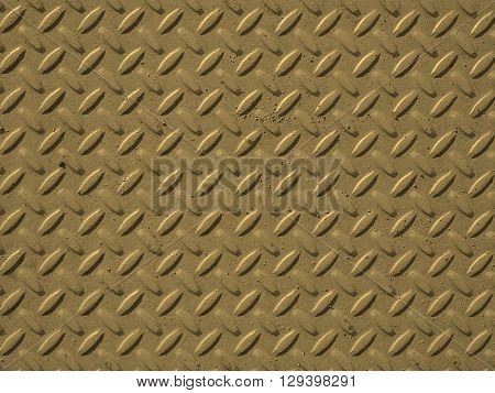 Yellow Steel Diamond Plate Background Sepia