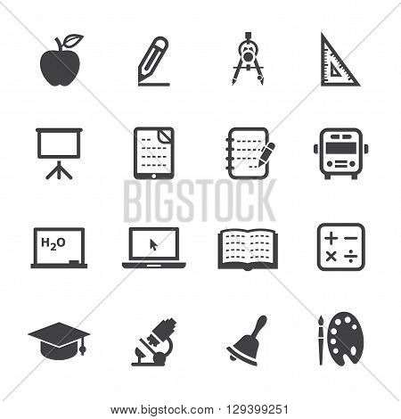 Education and Study icon set with White Background