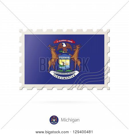 Postage Stamp With The Image Of Michigan State Flag.