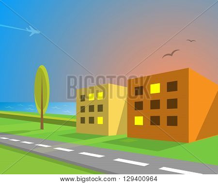 Seaview suburban street, vector illustration for Your design, eps10