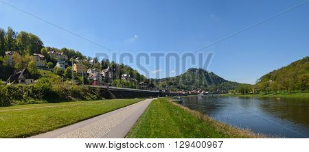 landscape on the River Elbe, Germany, the region of Europe. old city Koenigstein panorama