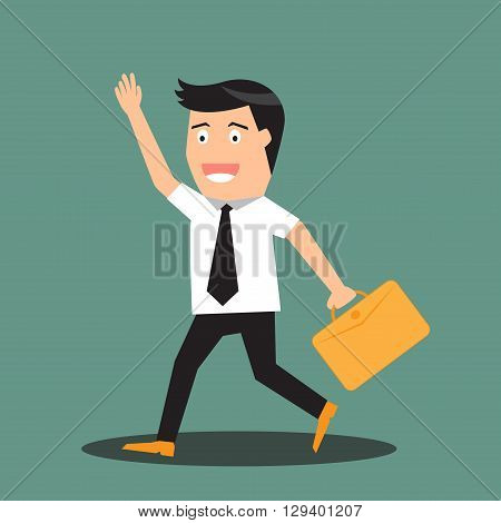 cartoon businessman walking go to work vector illustration.