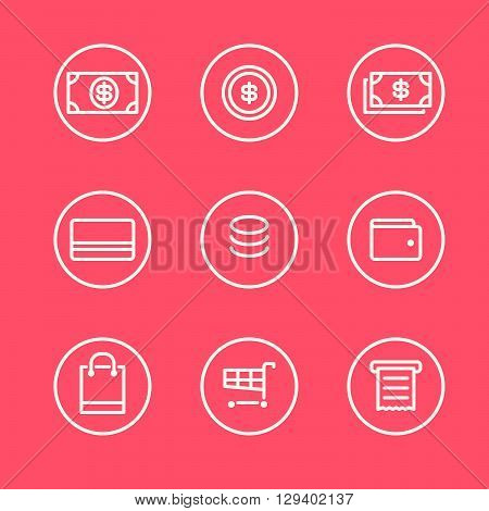Set of money and finance round outline icons