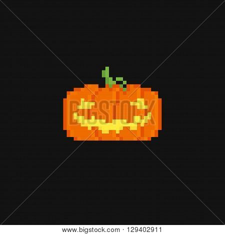 Dark background with two pixel art pumpkins