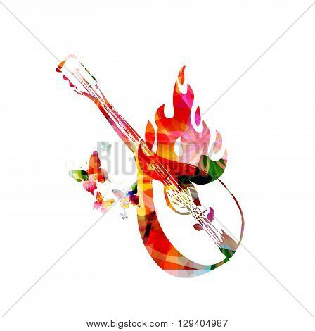 Vector illustration of colorful mandolin on fire