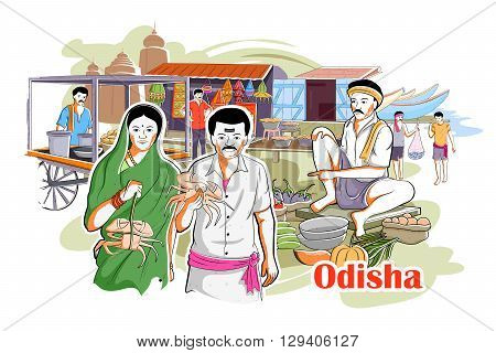 easy to edit vector illustration of people and culture of Odisha, India