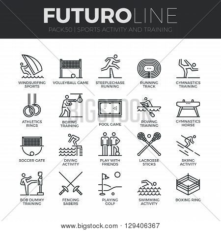 Sports Activity Futuro Line Icons Set