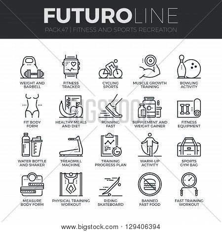 Modern thin line icons set of fitness gym equipment sports recreation activity. Premium quality outline symbol collection. Simple mono linear pictogram pack. Stroke vector logo concept for web graphics. poster