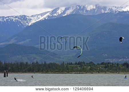kitesurfers riding in the Howe sound at Squamish