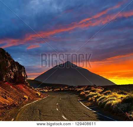 Beautiful Sky Over  The Volcano El Teide In Tenerife, Canary Islands, Spain