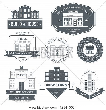 City Buildings Label Template Of Emblem Element For Your Product Or Design, Web And Mobile Applicati